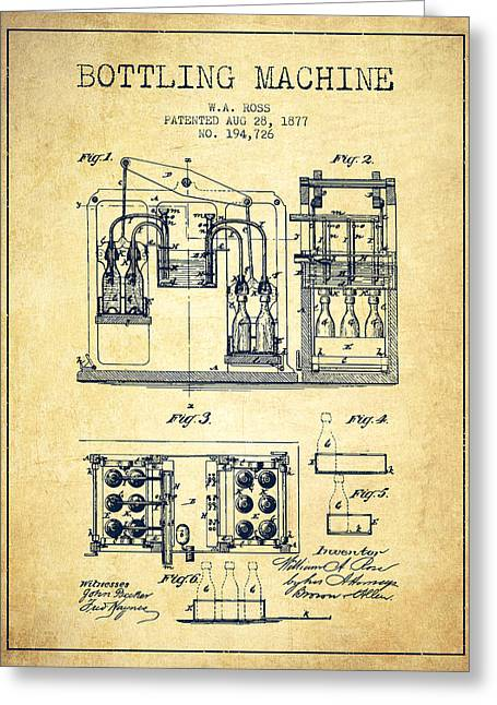 Bottle. Bottling Drawings Greeting Cards - 1877 Bottling Machine patent - Vintage Greeting Card by Aged Pixel