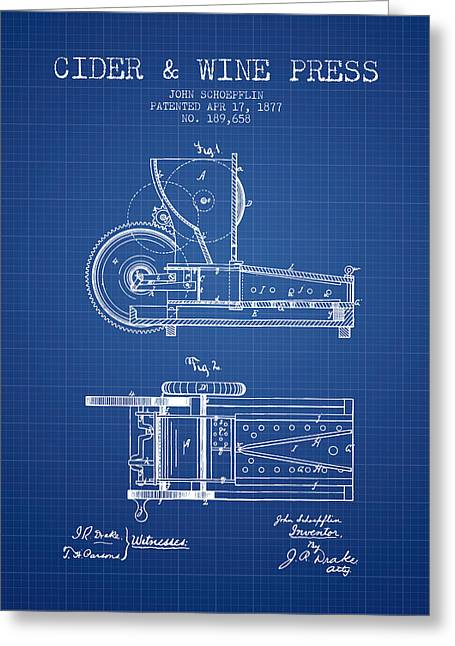 Wine Illustrations Drawings Greeting Cards - 1877 Cider and Wine Press Patent - blueprint Greeting Card by Aged Pixel