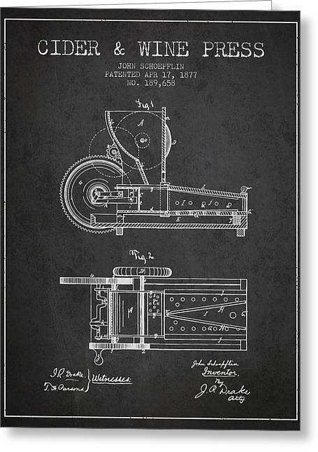 Red Wine Greeting Cards - 1877 Cider and Wine Press Patent - charcoal Greeting Card by Aged Pixel
