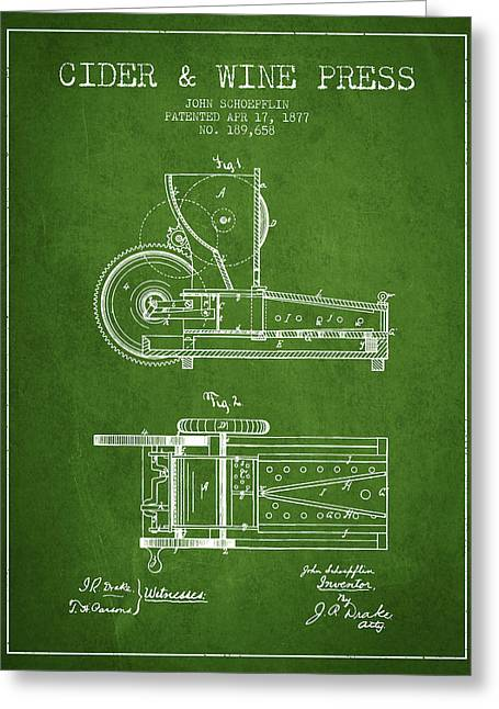 Red Wine Bottle Greeting Cards - 1877 Cider and Wine Press Patent - green Greeting Card by Aged Pixel