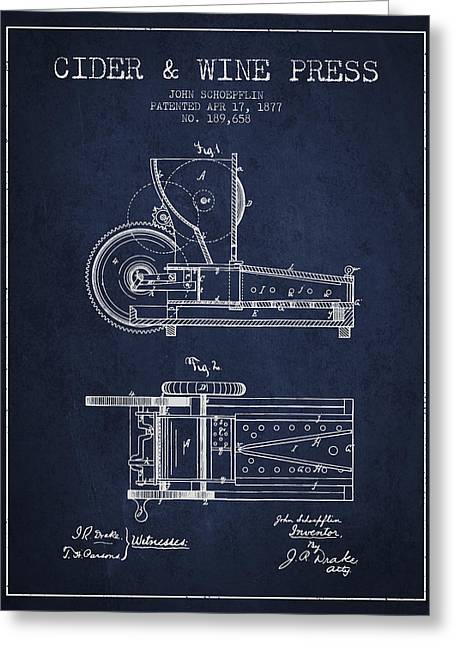 Wineries Drawings Greeting Cards - 1877 Cider and Wine Press Patent - navy blue Greeting Card by Aged Pixel