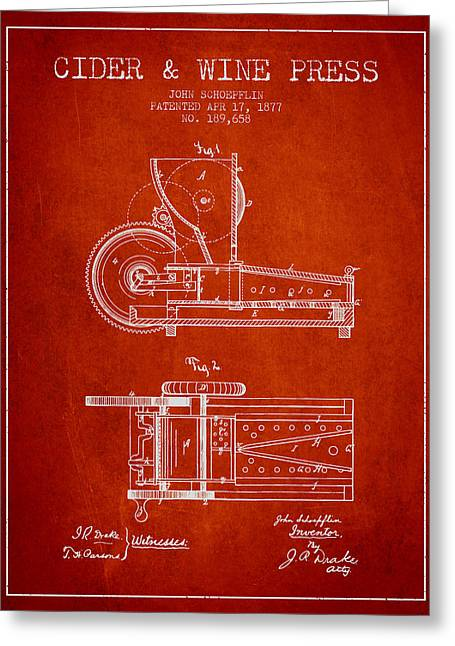 Red Wine Bottle Greeting Cards - 1877 Cider and Wine Press Patent - red Greeting Card by Aged Pixel