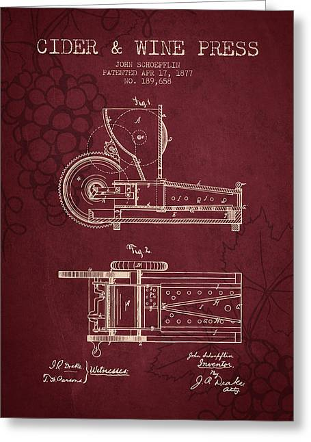 Wine Illustrations Drawings Greeting Cards - 1877 Cider and Wine Press Patent - red wine Greeting Card by Aged Pixel