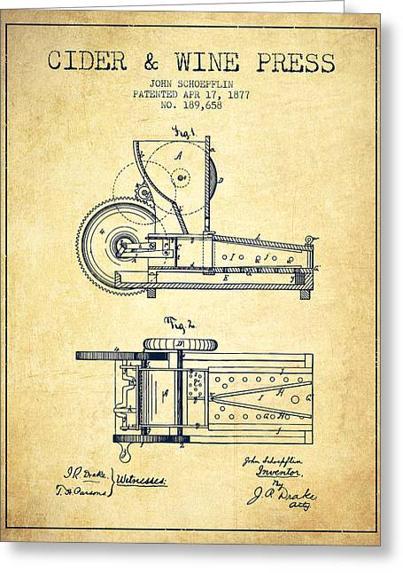 Wine Illustrations Drawings Greeting Cards - 1877 Cider and Wine Press Patent - vintage Greeting Card by Aged Pixel