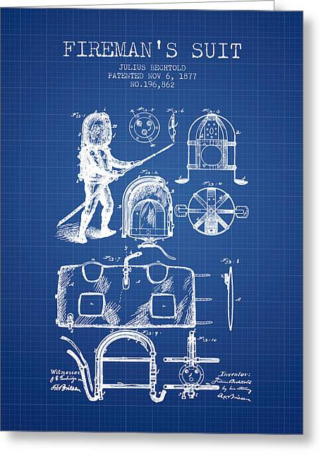 Rescue Greeting Cards - 1877 Firemans Suit Patent - Blueprint Greeting Card by Aged Pixel