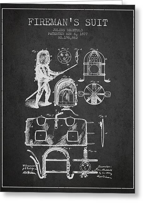 Rescue Greeting Cards - 1877 Firemans Suit Patent - Charcoal Greeting Card by Aged Pixel