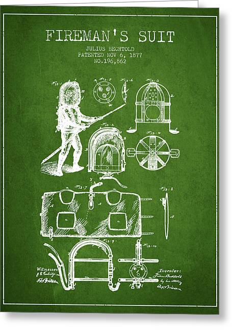 Rescue Greeting Cards - 1877 Firemans Suit Patent - Green Greeting Card by Aged Pixel