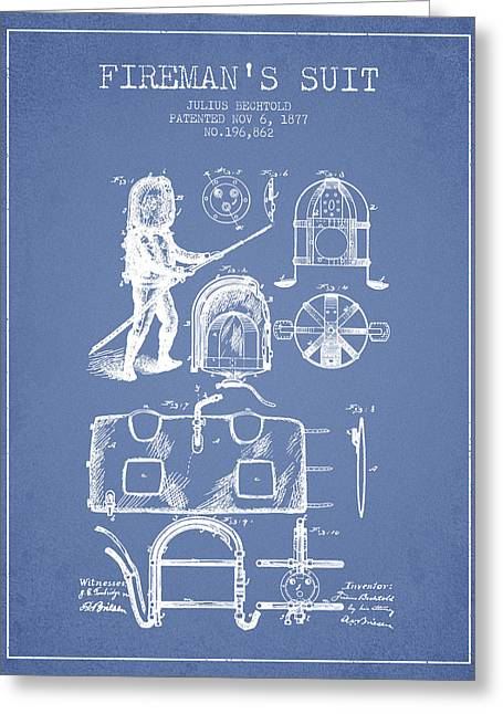 Rescue Greeting Cards - 1877 Firemans Suit Patent - Light Blue Greeting Card by Aged Pixel
