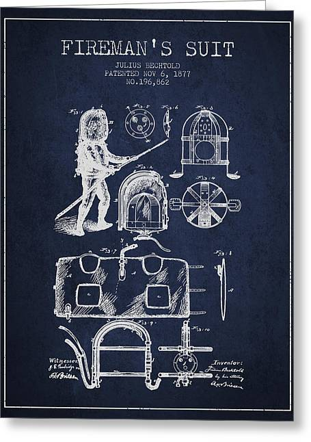 1877 Firemans Suit Patent - Navy Blue Greeting Card by Aged Pixel
