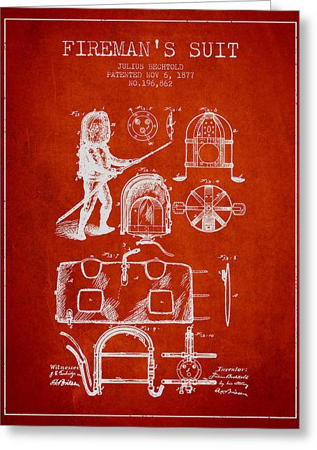 Rescue Greeting Cards - 1877 Firemans Suit Patent - Red Greeting Card by Aged Pixel
