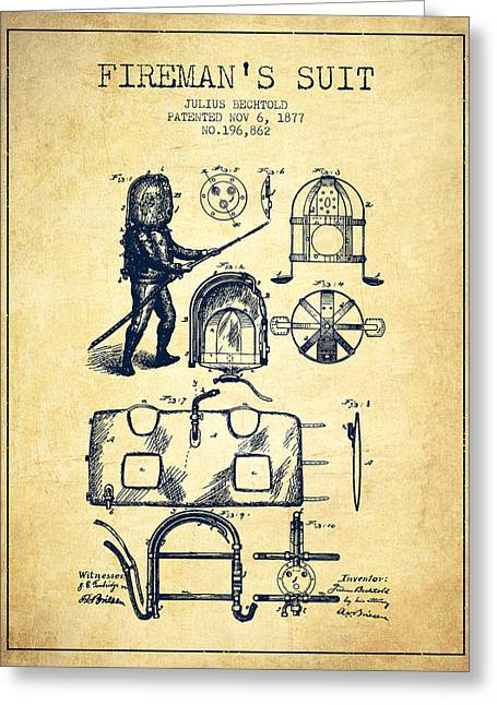 Rescue Greeting Cards - 1877 Firemans Suit Patent - Vintage Greeting Card by Aged Pixel