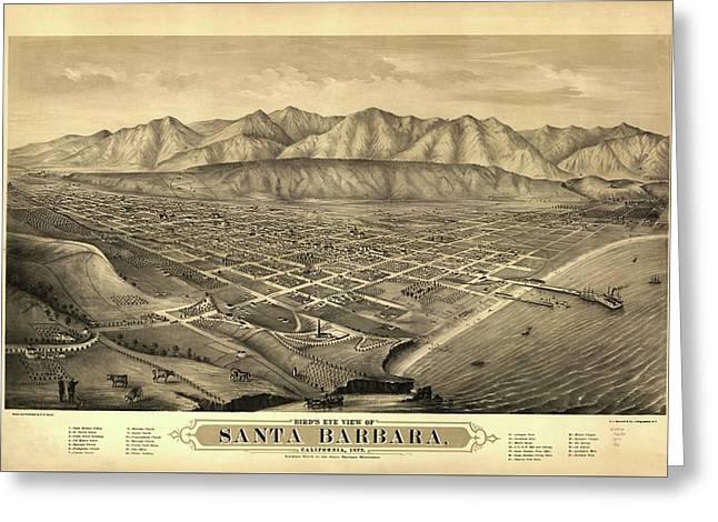 1877 Santa Barbara California Map Greeting Card by Dan Sproul