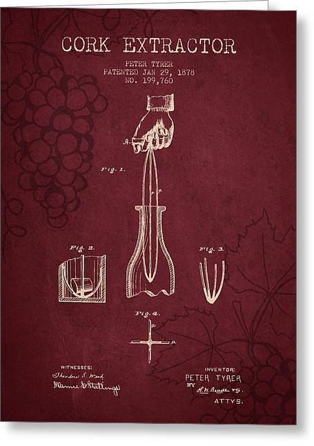 Vineyards Drawings Greeting Cards - 1878 Cork Extractor patent - Red Wine Greeting Card by Aged Pixel