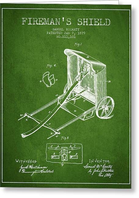 Rescue Greeting Cards - 1879 Firemans Shield Patent - Green Greeting Card by Aged Pixel