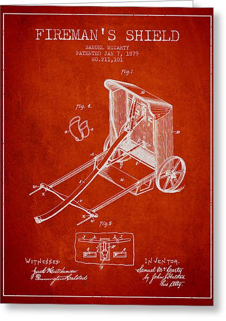 Rescue Greeting Cards - 1879 Firemans Shield Patent - Red Greeting Card by Aged Pixel