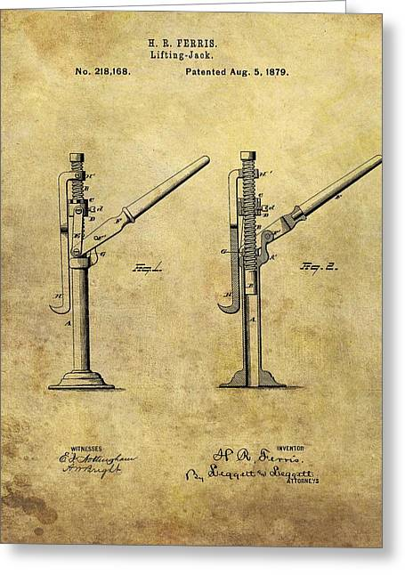 1879 Lifting Jack Patent Greeting Card by Dan Sproul