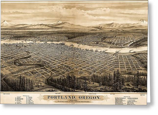 Hand Drawn Photographs Greeting Cards - 1879 Vintage Portland Oregon Map Greeting Card by Stephen Stookey