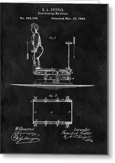 1880 Exercise Apparatus Patent Illustration Greeting Card by Dan Sproul