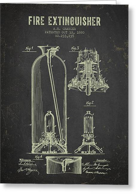 Rescue Greeting Cards - 1880 Fire Extinguisher Patent - Dark Grunge Greeting Card by Aged Pixel
