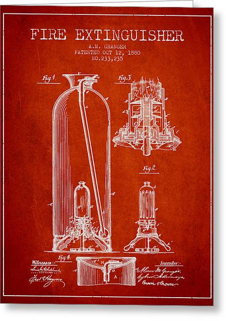 1880 Fire Extinguisher Patent - Red Greeting Card by Aged Pixel