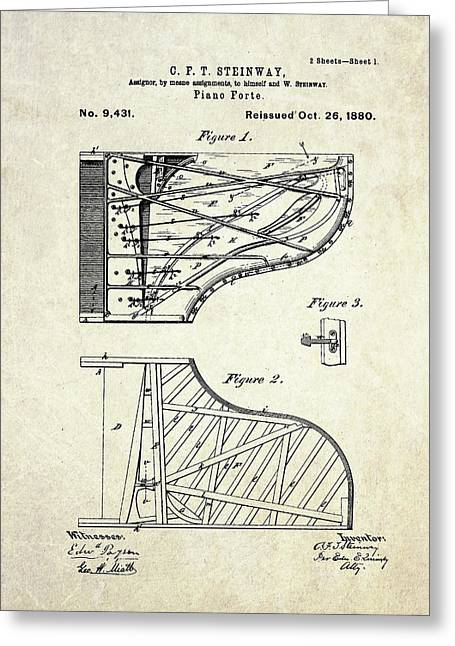 1880 Steinway Piano Forte Patent Art Sheet 1  Greeting Card by Gary Bodnar