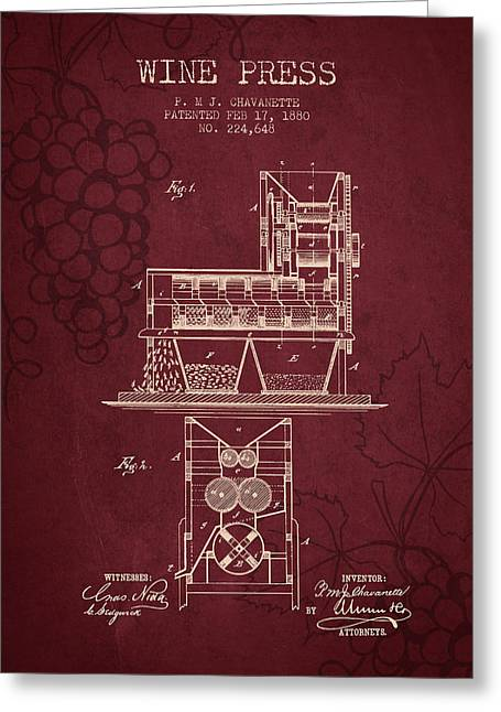 Red Wine Bottle Greeting Cards - 1880 Wine Press Patent - red wine Greeting Card by Aged Pixel