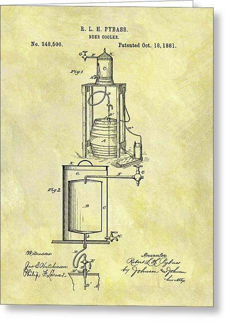 1881 Beer Cooler Patent Greeting Card by Dan Sproul