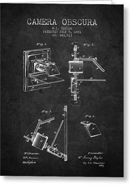 Famous Photographers Greeting Cards - 1881 Camera Obscura Patent - Charcoal - NB Greeting Card by Aged Pixel