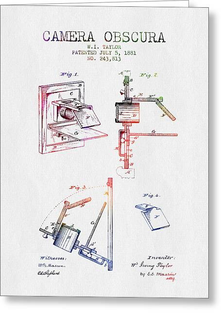 Famous Photographer Drawings Greeting Cards - 1881 Camera Obscura Patent - Color Greeting Card by Aged Pixel