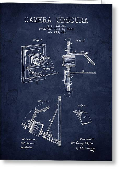 Famous Photographers Greeting Cards - 1881 Camera Obscura Patent - Navy Blue - NB Greeting Card by Aged Pixel