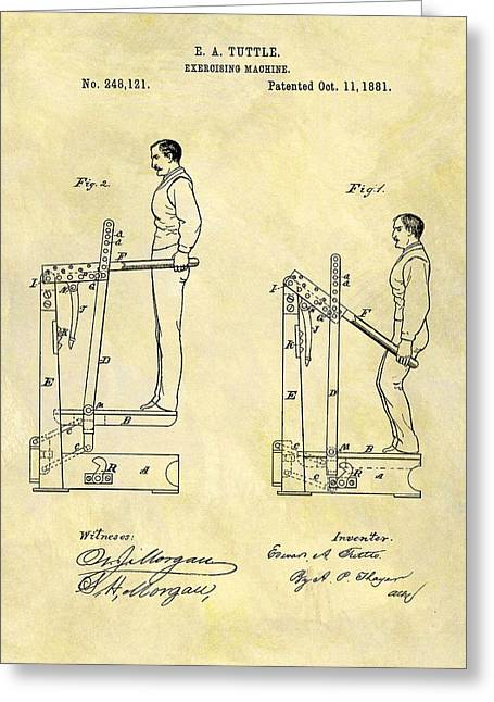 1881 Exercising Machine Patent Greeting Card by Dan Sproul