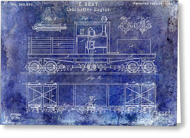 Train Car Greeting Cards - 1881 Locomotive Engine Patent Blue Greeting Card by Jon Neidert