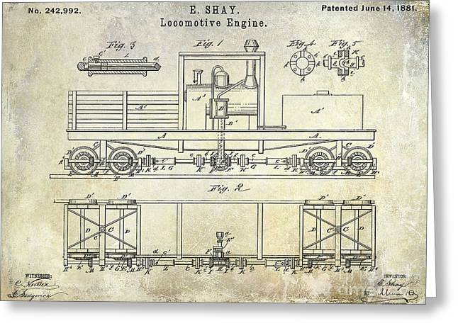 Railway Locomotive Greeting Cards - 1881 Locomotive Engine Patent Greeting Card by Jon Neidert