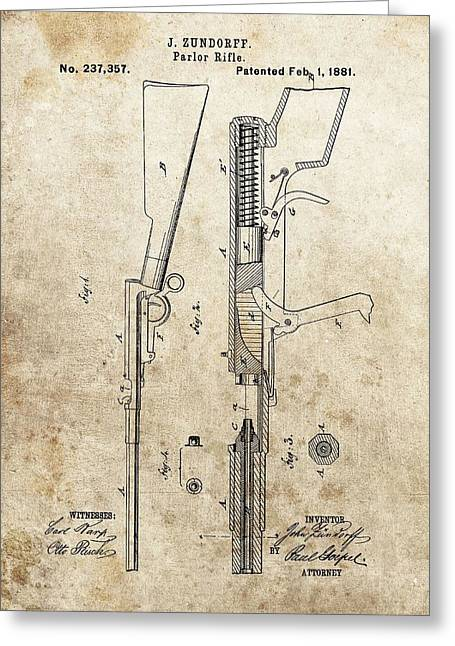 1881 Parlor Rifle Patent Greeting Card by Dan Sproul
