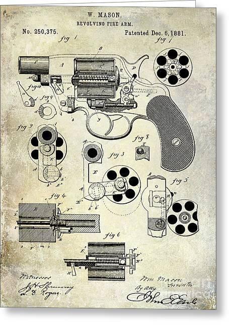 1800s Greeting Cards - 1881 Revolver Patent  Greeting Card by Jon Neidert