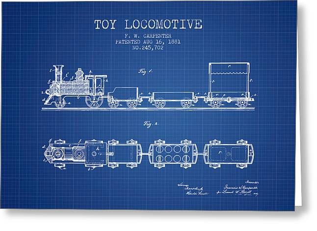Train Drawing Greeting Cards - 1881 Toy Locomotive Patent - blueprint Greeting Card by Aged Pixel