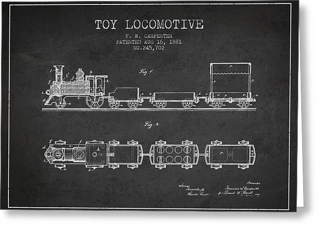 Train Drawing Greeting Cards - 1881 Toy Locomotive Patent - Charcoal Greeting Card by Aged Pixel