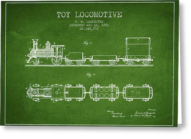 Train Drawing Greeting Cards - 1881 Toy Locomotive Patent - Green Greeting Card by Aged Pixel