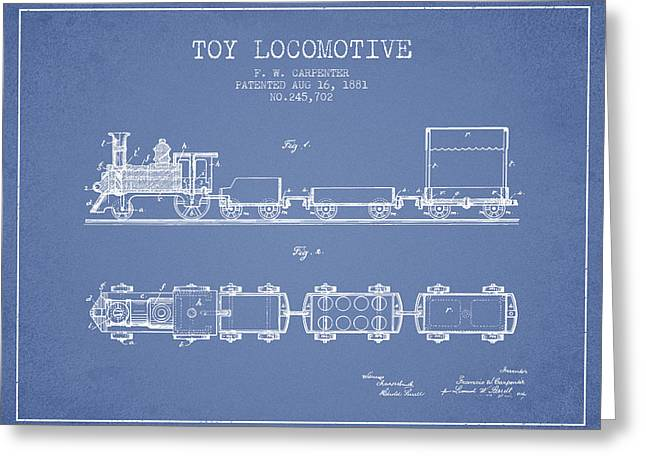 Train Drawing Greeting Cards - 1881 Toy Locomotive Patent - Light Blue Greeting Card by Aged Pixel