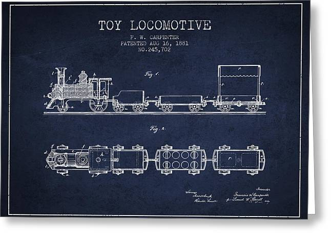 Train Drawing Greeting Cards - 1881 Toy Locomotive Patent - Navy Blue Greeting Card by Aged Pixel