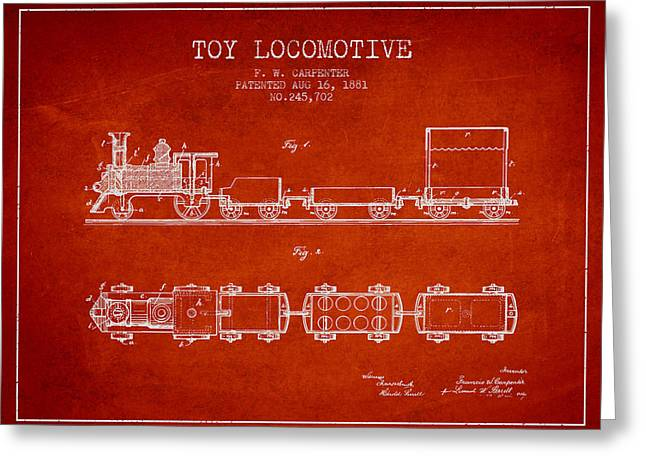 Train Drawing Greeting Cards - 1881 Toy Locomotive Patent - Red Greeting Card by Aged Pixel