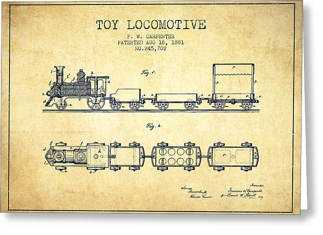 Train Drawing Greeting Cards - 1881 Toy Locomotive Patent - vintage Greeting Card by Aged Pixel