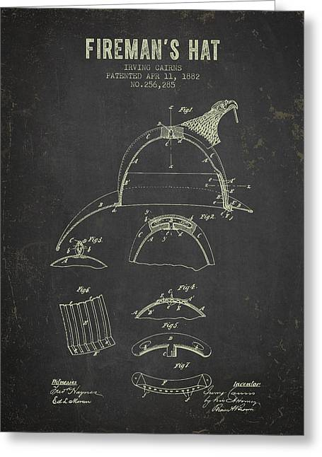 Rescue Greeting Cards - 1882 Firemans Hat Patent - Dark Grunge Greeting Card by Aged Pixel