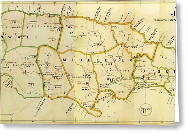 1882 Jamaica Map Greeting Card by Dan Sproul
