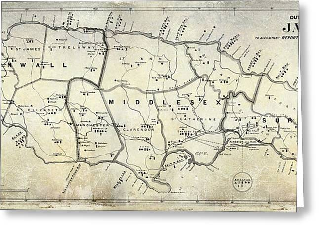 1882 Greeting Cards - 1882 Jamaica Map Greeting Card by Jon Neidert