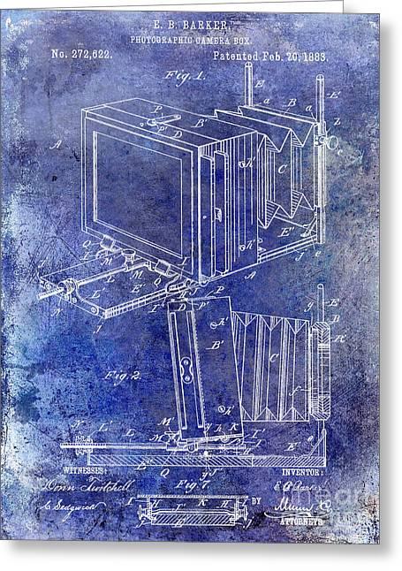 Camera Greeting Cards - 1883 Camera Patent Blue Greeting Card by Jon Neidert