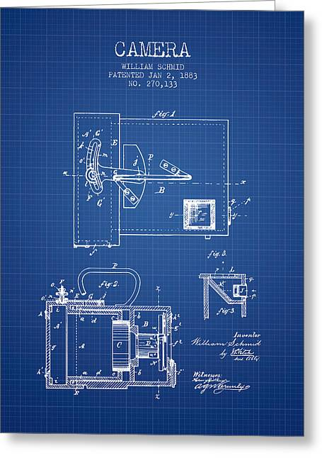 Schmid Greeting Cards - 1883 Camera Patent - blueprint Greeting Card by Aged Pixel