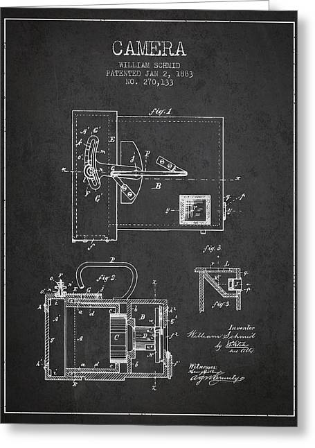 Schmid Greeting Cards - 1883 Camera Patent - charcoal Greeting Card by Aged Pixel