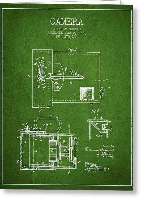 Schmid Greeting Cards - 1883 Camera Patent - green Greeting Card by Aged Pixel