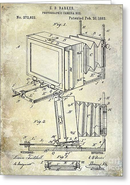 Camera Greeting Cards - 1883 Camera Patent Greeting Card by Jon Neidert